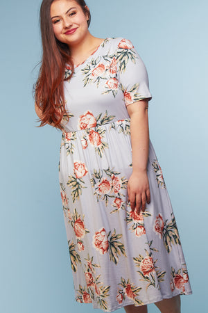 Plus Off Grey Floral Midi Dress