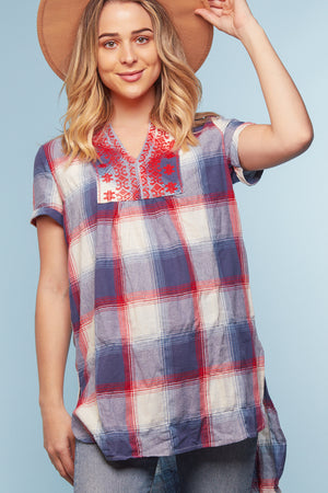 Plaid Embroidered Tunic