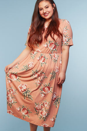 Plus Blush Floral Midi Dress