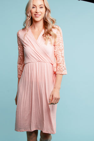 Blush Surplice Crochet Sleeve Dress