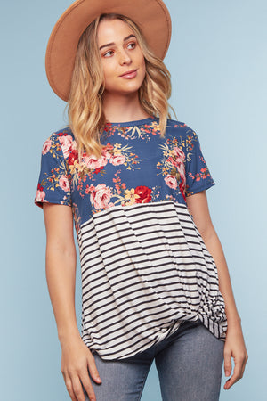 Off Blue Floral Stripe Color Block Twist Blouse