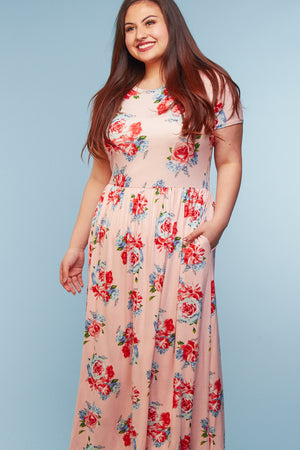 Plus Blush Floral Maxi Dress
