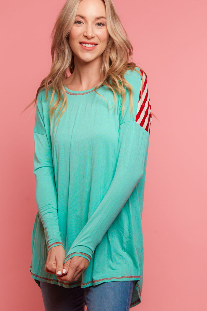 Mint Stripe Blouse
