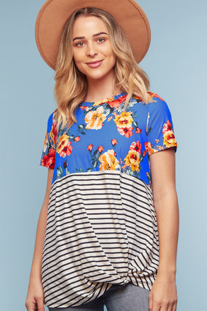 Blue Floral Stripe Color Block Twist Blouse