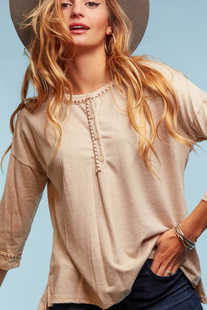 Taupe Design Button Blouse