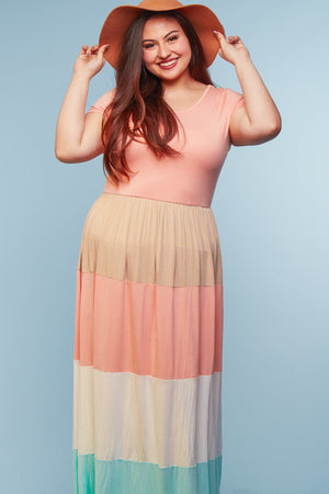 Plus Coral Color Block Maxi Dress