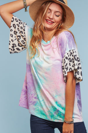 Mint & Lilac Tie Dye Animal Sleeve Blouse