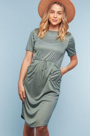 Sage Green Pocketed Dress