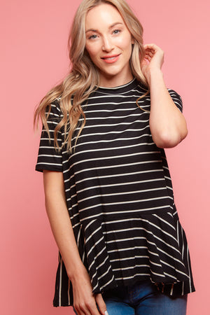 Black Stripe Peplum