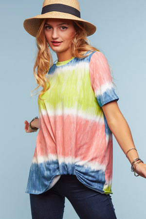 Tie Dye Color Block Knot Hem Blouse
