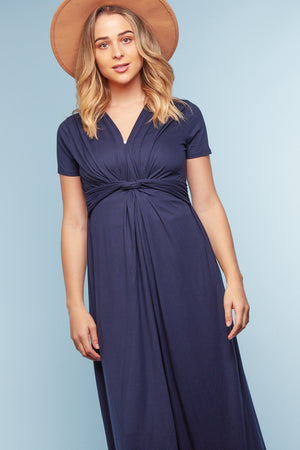 Navy Twist Maxi Dress