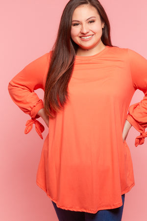 Plus Coral Tie Sleeve Blouse