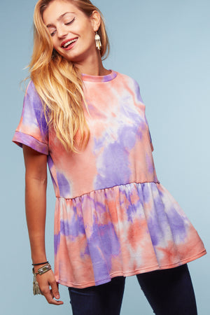 Coral & Purple Tie Dye Thermal Peplum