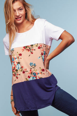 Coral Navy Floral Color Block Blouse