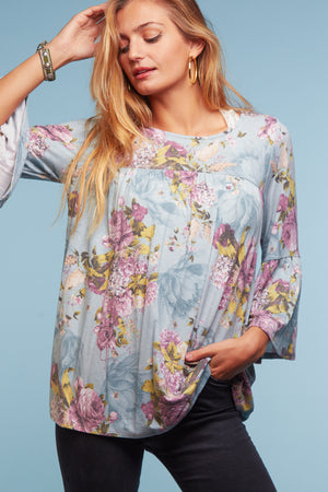 Blue Floral Babydoll Blouse
