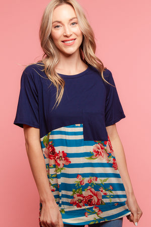 Navy Stripe Floral Blouse
