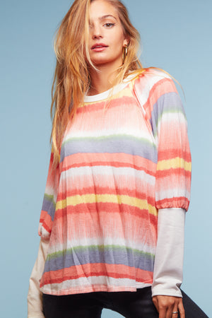 Coral Multi Stripe Blouse