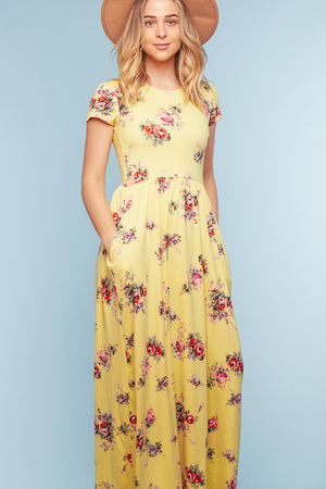 Yellow Floral Pocketed Maxi Dress