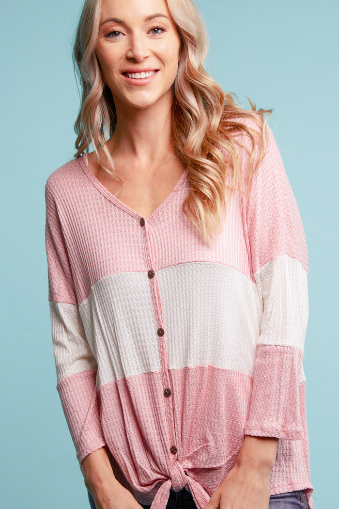 Blush Thermal Color Block Blouse