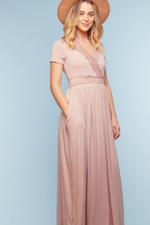 Pink Lace Detail Pocketed Maxi Dress (7 pc)