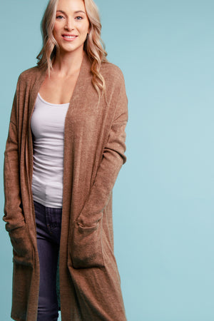 Brown Thick Pocketed Cardigan