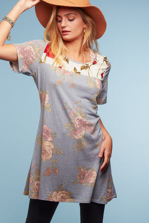 Blue Floral Mix Tunic