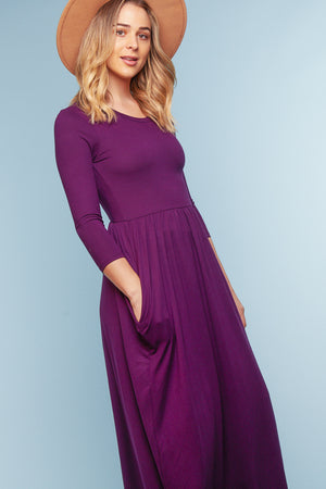 Purple Pocketed Maxi Dress (4 pc)