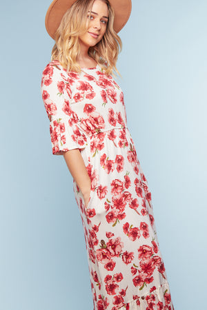 Ivory Floral Bell Sleeve Pocketed Maxi Dress