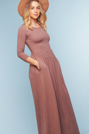 Taupe Pocketed Maxi Dress (4 pc)