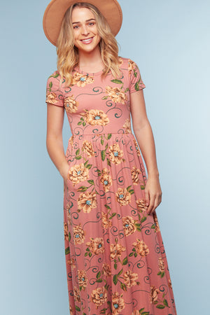 Pink Floral Pocketed Maxi Dress