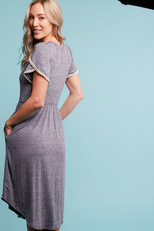 Plus Grey 2-Tone Pocket Crochet Dress