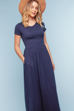 Navy Pleated Maxi Dress