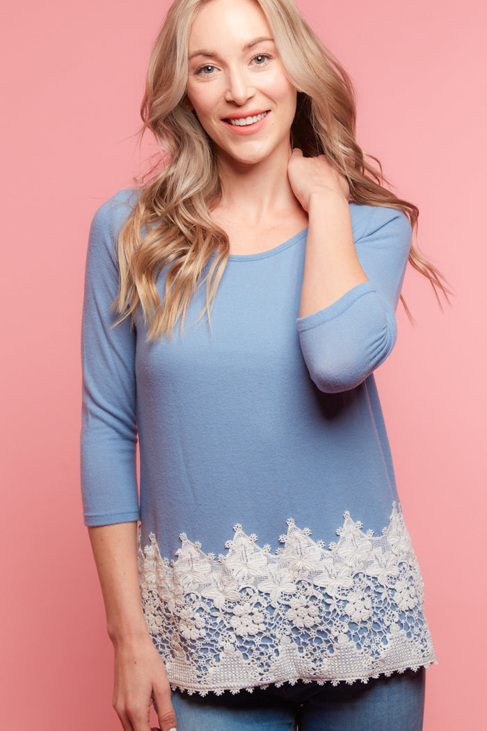 Blue Crochet Hem Blouse