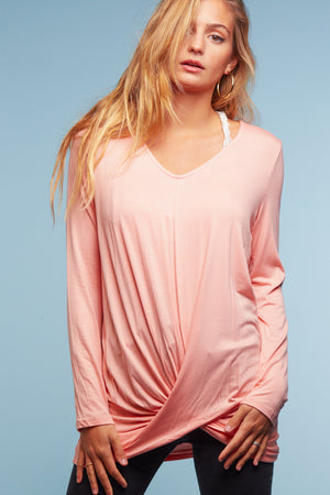 Blush Twist Hem Blouse