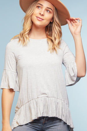 Heather Grey Bell Sleeve Blouse