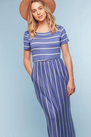 Blue Stripe Pocketed Maxi Dress