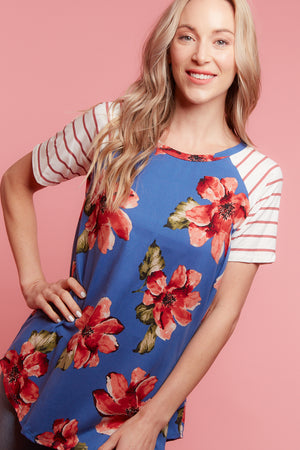 Blue Floral Stripe Blouse