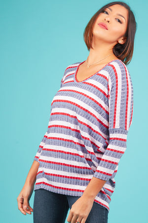 Ribbed Multi Stripe Blouse