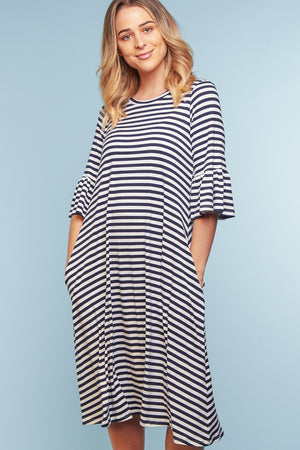 Navy Stripe Bell Sleeve Pocketed Dress (4 pc)