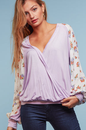 Lilac Open Front Floral Blouse