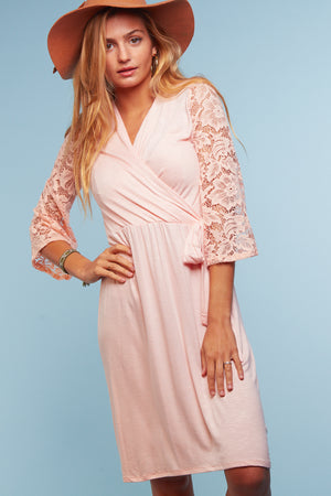 Blush Crochet Sleeve Tie Dress