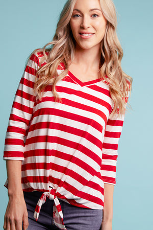 Red Stripe Tie Hem Blouse