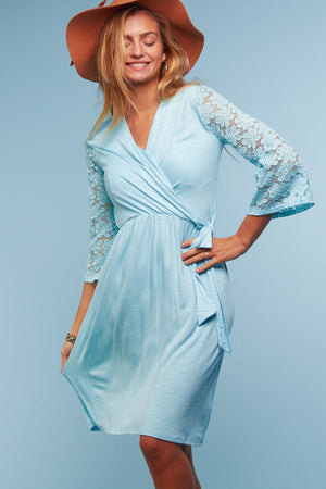 Aqua Crochet Sleeve Tie Dress