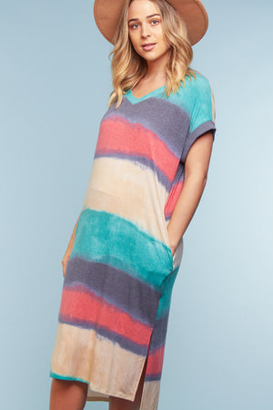 Blue Multi Stripe Pocketed Dress
