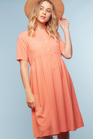 Coral Polka Dot Button Dress