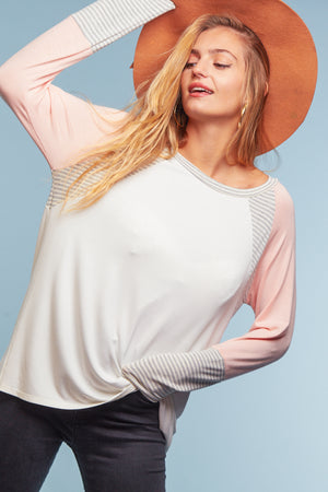 Blush Color Block Raglan Long Sleeve Blouse