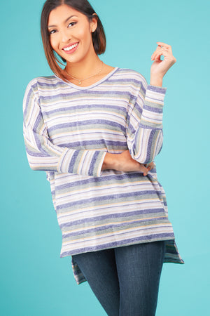 Blue Multi Stripe Blouse