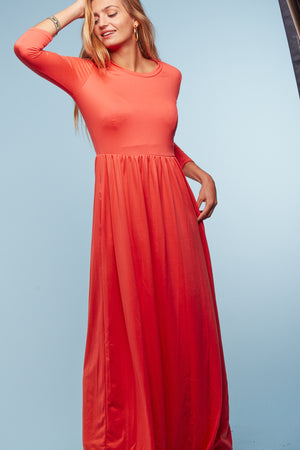 Coral Solid Maxi Dress