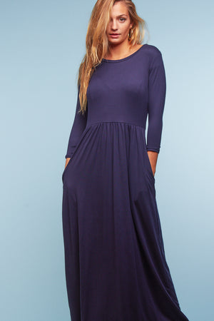 Navy Solid Maxi Dress