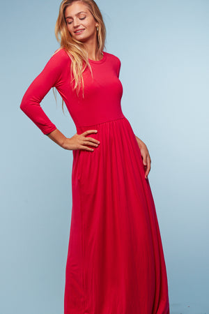 Fuchsia Solid Maxi Dress
